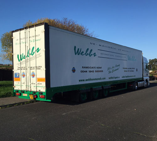 These are our 105 cubic metre mega cube Furniture trailers, We can utilise our double deck system to incorporate vehicles and unusual items to our loads. These are our Main movers between our UK depot and Santa Ponsa Depot – Mallorca.