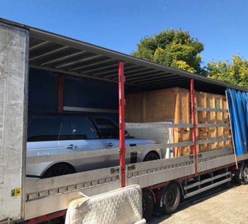 Our Mega Cube curtain side Trailer – Used on our Freight and container Work between the UK and Balearics, Also for our special transport arrangements with the Palma Boatyards who we are proud to work for.